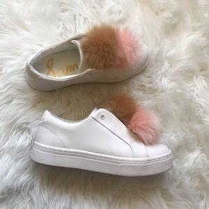 Sam Edelman leya pom Pom leather sneakers
